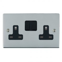 Hamilton Sheer Bright Chrome 2 Gang 13A Switched Socket - Double Pole with Black Insert