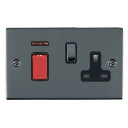 Hamilton Sheer Black Nickel 1 Gang Double Pole 45A Red Rocker + 13A Switched Socket with Black Insert