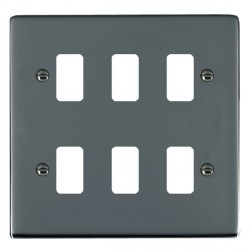 Hamilton Sheer Grid Black Nickel 6 Gang Grid Fix Aperture Plate with Grid