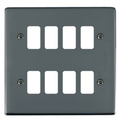 Hamilton Sheer Grid Black Nickel 8 Gang Grid Fix Aperture Plate with Grid