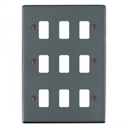 Hamilton Sheer Grid Black Nickel 9 Gang Grid Fix Aperture Plate with Grid