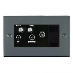 Hamilton Sheer Black Nickel TV+FM+SAT+SAT+TV+TCS (DAB Compatible) with Black Insert