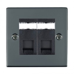 Hamilton Sheer Black Nickel 2 Gang RJ45 Outlet Cat 5e Unshielded with Black Insert