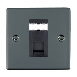 Hamilton Sheer Black Nickel 1 Gang RJ45 Outlet Cat 5e Unshielded with Black Insert