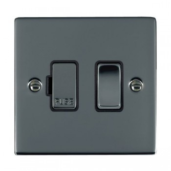 Hamilton Sheer Black Nickel 1 Gang 13A Fused Spur, Double Pole with Black Insert