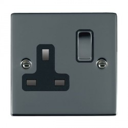 Hamilton Sheer Black Nickel 1 Gang 13A Switched Socket - Double Pole with Black Insert