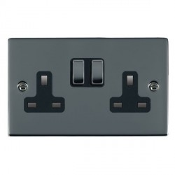 Hamilton Sheer Black Nickel 2 Gang 13A Switched Socket - Double Pole with Black Insert