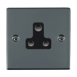 Hamilton Sheer Black Nickel 1 Gang 5A Unswitched Socket with Black Insert