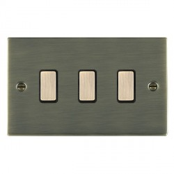 Hamilton Sheer Antique Brass 3 Gang Multi way Touch Master Trailing Edge with Black Insert