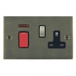 Hamilton Sheer Antique Brass 1 Gang Double Pole 45A Red Rocker + 13A Switched Socket with Black Insert