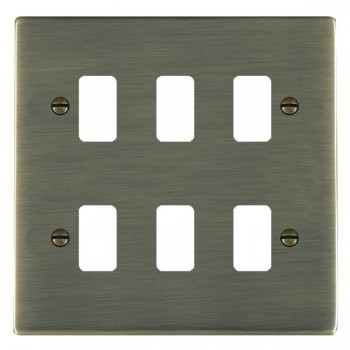 Hamilton Sheer Grid Antique Brass 6 Gang Grid Fix Aperture Plate with Grid