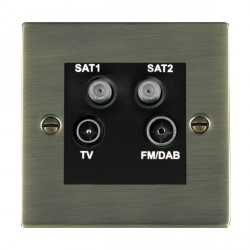 Hamilton Sheer Antique Brass TV+FM+SAT+SAT (DAB Compatible) with Black Insert