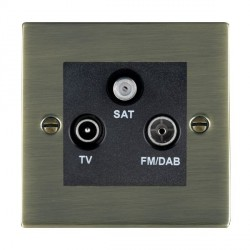 Hamilton Sheer Antique Brass TV+FM+SAT (DAB Compatible) with Black Insert