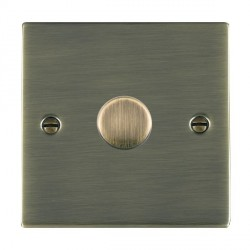 Hamilton Sheer Antique Brass Push On/Off 600W Dimmer 1 Gang 2 way with Antique Brass Insert