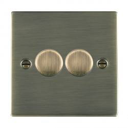 Hamilton Sheer Antique Brass Push On/Off 400W Dimmer 2 Gang 2 way with Antique Brass Insert