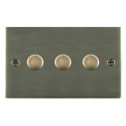 Hamilton Sheer Antique Brass Push On/Off 400W Dimmer 3 Gang 2 way with Antique Brass Insert