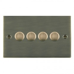 Hamilton Sheer Antique Brass Push On/Off Dimmer 4 Gang Multi-way 250W/VA Trailing Edge with Antique Brass Insert