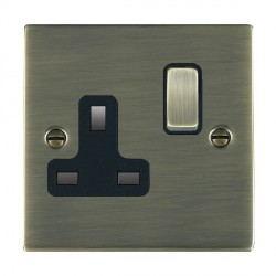 Hamilton Sheer Antique Brass 1 Gang 13A Switched Socket - Double Pole with Black Insert