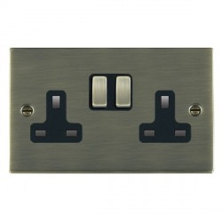 Hamilton Sheer Antique Brass 2 Gang 13A Switched Socket - Double Pole with Black Insert