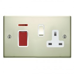 Hamilton Sheer Pearl Oyster 1 Gang Double Pole 45A Red Rocker + 13A Switched Socket with White Insert