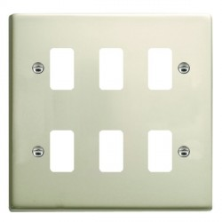 Hamilton Sheer Grid Pearl Oyster 6 Gang Grid Fix Aperture Plate with Grid