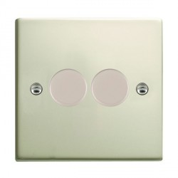 Hamilton Sheer Pearl Oyster Push On/Off 200VA Dimmer 2 Gang 2 way Inductive with Pearl Oyster Insert