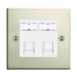 Hamilton Sheer Pearl Oyster 2 Gang RJ12 Outlet Unshielded with White Insert