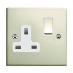 Hamilton Sheer Pearl Oyster 1 Gang 13A Switched Socket - Double Pole with White Insert