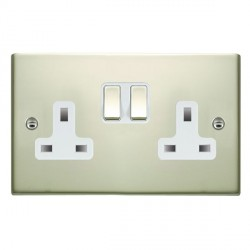 Hamilton Sheer Pearl Oyster 2 Gang 13A Switched Socket - Double Pole with White Insert