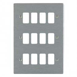 Hamilton Sheer Grid Satin Steel 12 Gang Grid Fix Aperture Plate with Grid