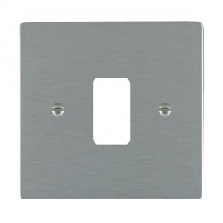 Hamilton Sheer Grid Satin Steel 1 Gang Grid Fix Aperture Plate with Grid