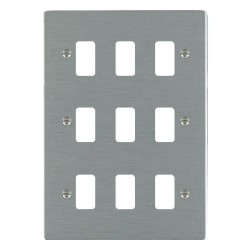 Hamilton Sheer Grid Satin Steel 9 Gang Grid Fix Aperture Plate with Grid