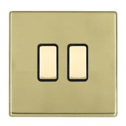 Hamilton Hartland CFX Polished Brass 2 Gang Multi way Touch Master Trailing Edge with Black Insert