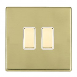 Hamilton Hartland CFX Polished Brass 2 Gang Multi way Touch Slave Trailing Edge with White Insert