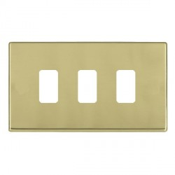 Hamilton Hartland CFX Grid Polished Brass 3 Gang Concealed Fix Grid Fix Aperture Plate with Grid
