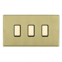 Hamilton Hartland CFX Polished Brass 3 Gang Multi way Touch Slave Trailing Edge with Black Insert