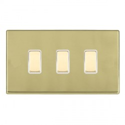 Hamilton Hartland CFX Polished Brass 3 Gang Multi way Touch Slave Trailing Edge with White Insert