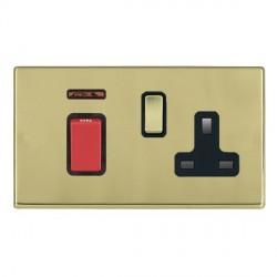 Hamilton Hartland CFX Polished Brass 1 Gang Double Pole 45A Red Rocker + 13A Switched Socket with Black Insert