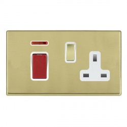 Hamilton Hartland CFX Polished Brass 1 Gang Double Pole 45A Red Rocker + 13A Switched Socket with White Insert