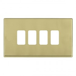 Hamilton Hartland CFX Grid Polished Brass 4 Gang Concealed Fix Grid Fix Aperture Plate with Grid