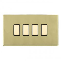 Hamilton Hartland CFX Polished Brass 4 Gang Multi way Touch Slave Trailing Edge with Black Insert