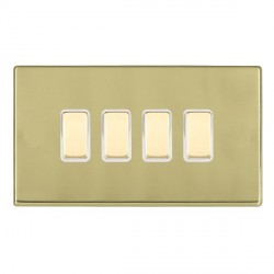 Hamilton Hartland CFX Polished Brass 4 Gang Multi way Touch Slave Trailing Edge with White Insert