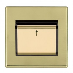 Hamilton Hartland CFX Polished Brass 1 Gang On/Off 10A Card Switch with Blue LED Locator with Black Insert