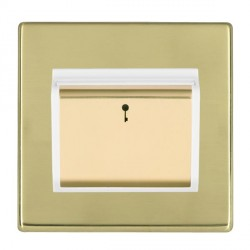 Hamilton Hartland CFX Polished Brass 1 Gang On/Off 10A Card Switch with Blue LED Locator with White Inser...