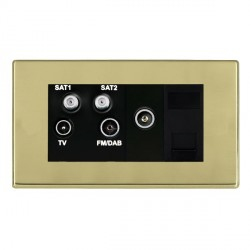 Hamilton Hartland CFX Polished Brass TV+FM+SAT+SAT (DAB Compatible)+TV+TCS (DAB Compatible) with Black Insert