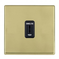 Hamilton Hartland CFX Polished Brass 1 Gang 2 Way Key Switch 'EMG LTG TEST' with Black Insert