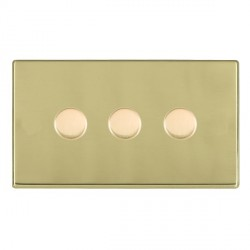 Hamilton Hartland CFX Polished Brass Push On/Off Dimmer 3 Gang 2 way 400W with Polished Brass Insert
