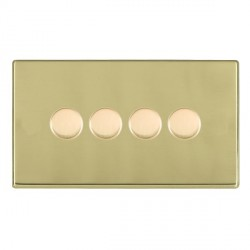 Hamilton Hartland CFX Polished Brass Push On/Off Dimmer 4 Gang 2 way 400W with Polished Brass Insert