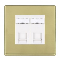 Hamilton Hartland CFX Polished Brass 2 Gang RJ12 Outlet Unshielded with White Insert