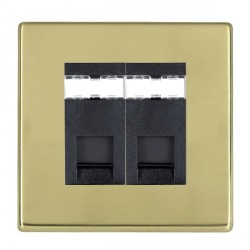 Hamilton Hartland CFX Polished Brass 2 Gang RJ45 Outlet Cat 5e Unshielded with Black Insert